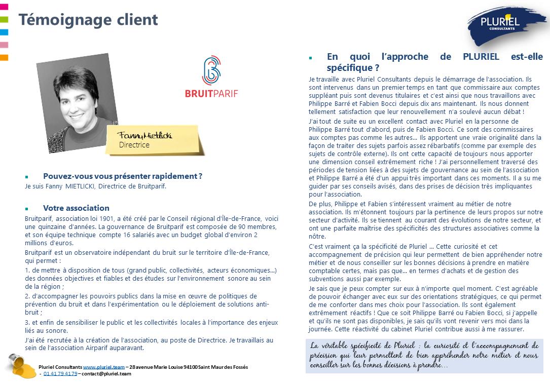 Témoignage client BRUITPARIF